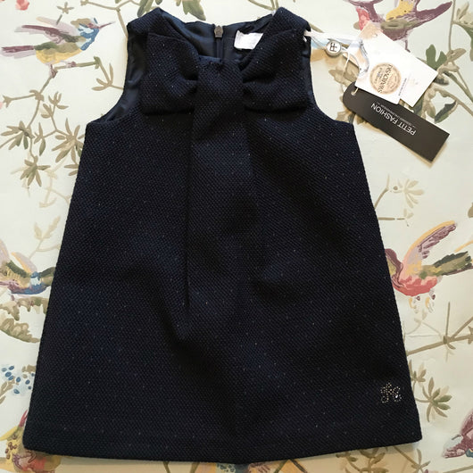 Tartine et Chocolat Navy And Gold Flecked Bow Dress
