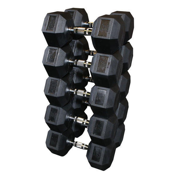 Rubber Coated Hex Dumbbell Set