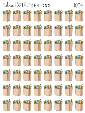 Grocery Bag Planner Stickers 1004