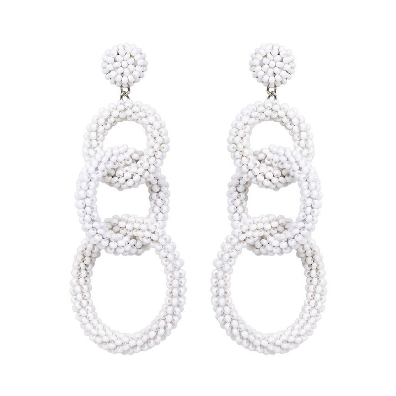 Deepa by Deepa Gurnani Handmade Interlock Circle Drop White Beads Earrings