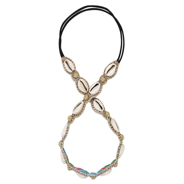 Deepa by Deepa Gurnani Handmade Shell Glass Stones Headband