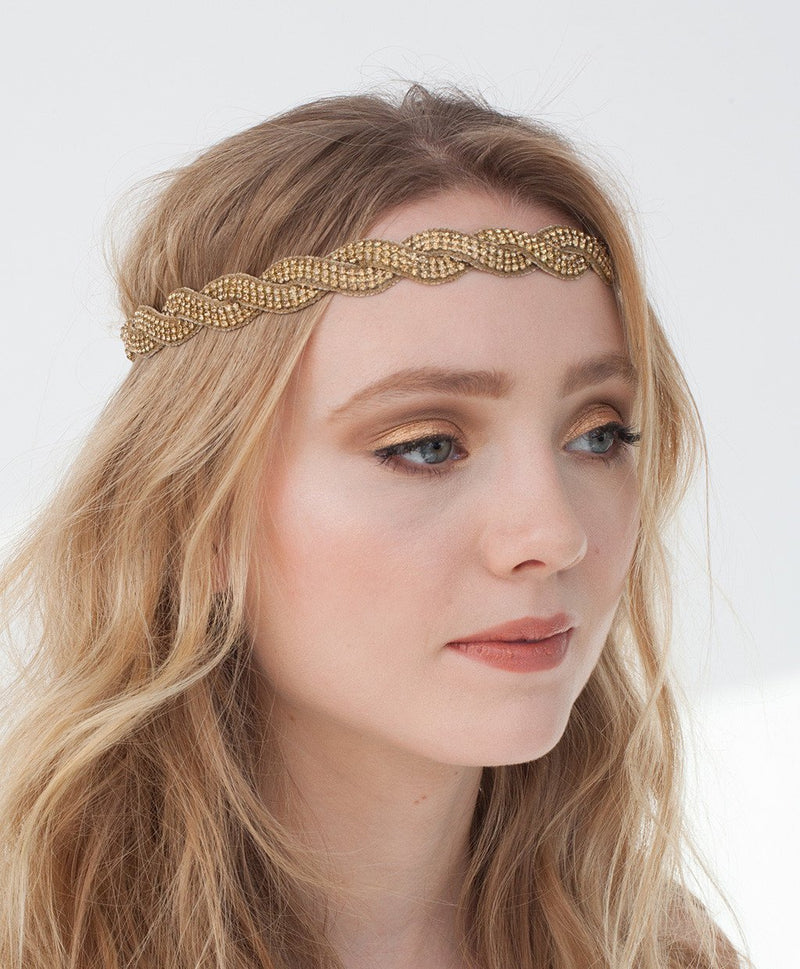 Model Wearing Deepa by Deepa Gurnani Handmade Ashley Headband in Gold