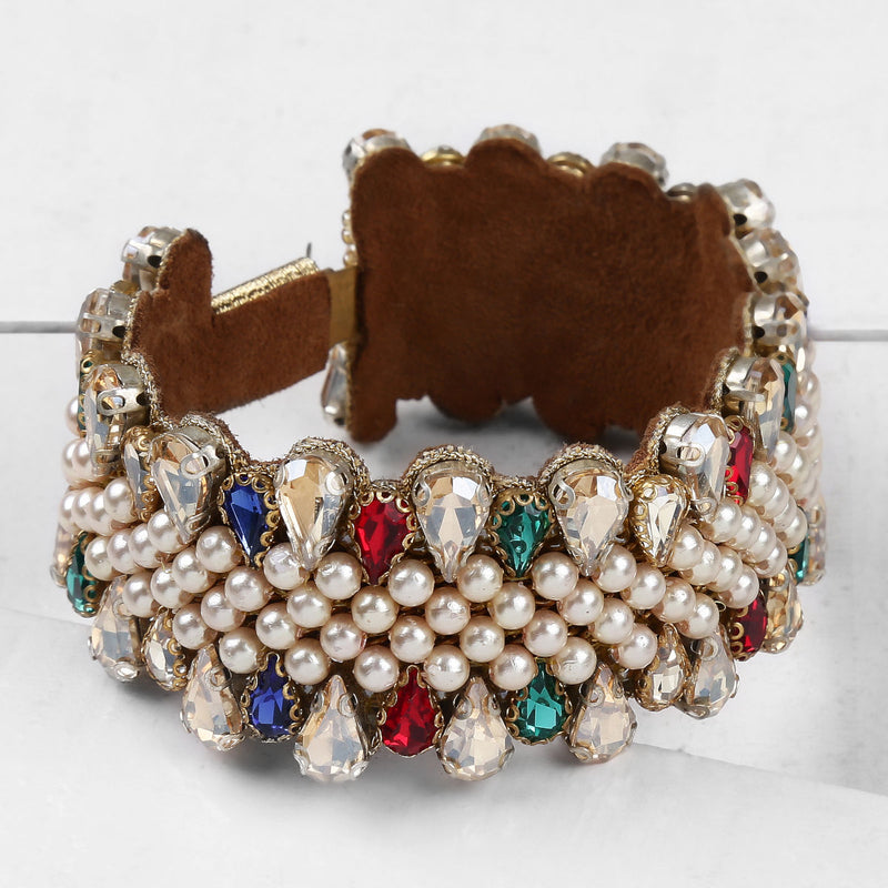Deepa by Deepa Gurnani Handmade Roxie Cuff Multi Color on Wood Background