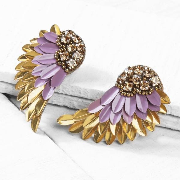 Deepa by Deepa Gurnani Handmade Perry Earrings in Lavender and Gold on Wood Background