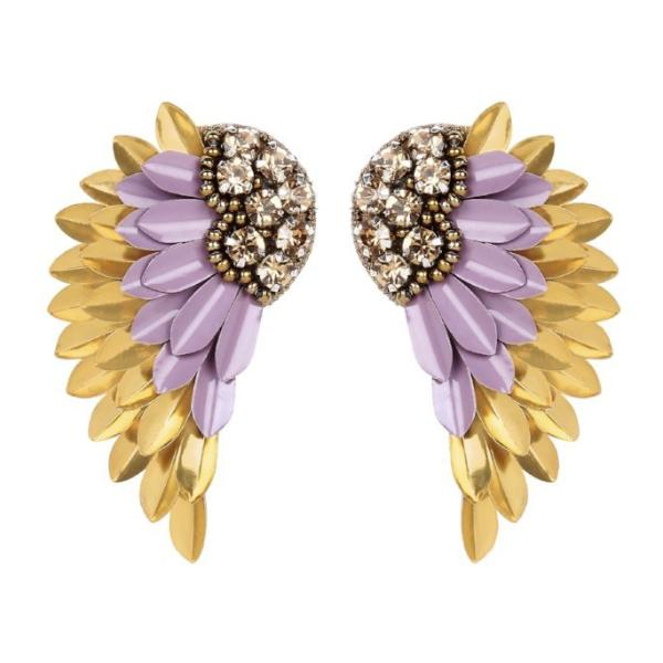 Deepa by Deepa Gurnani Handmade Perry Earrings in Lavender and Gold