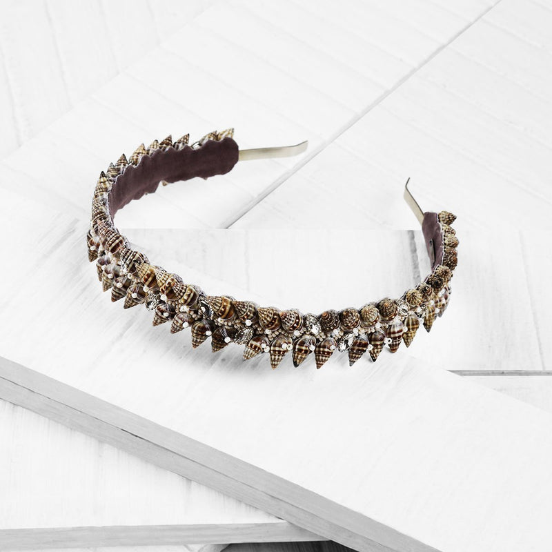 Deepa by Deepa Gurnani Handmade Mabel Shell Headband on Wood Background