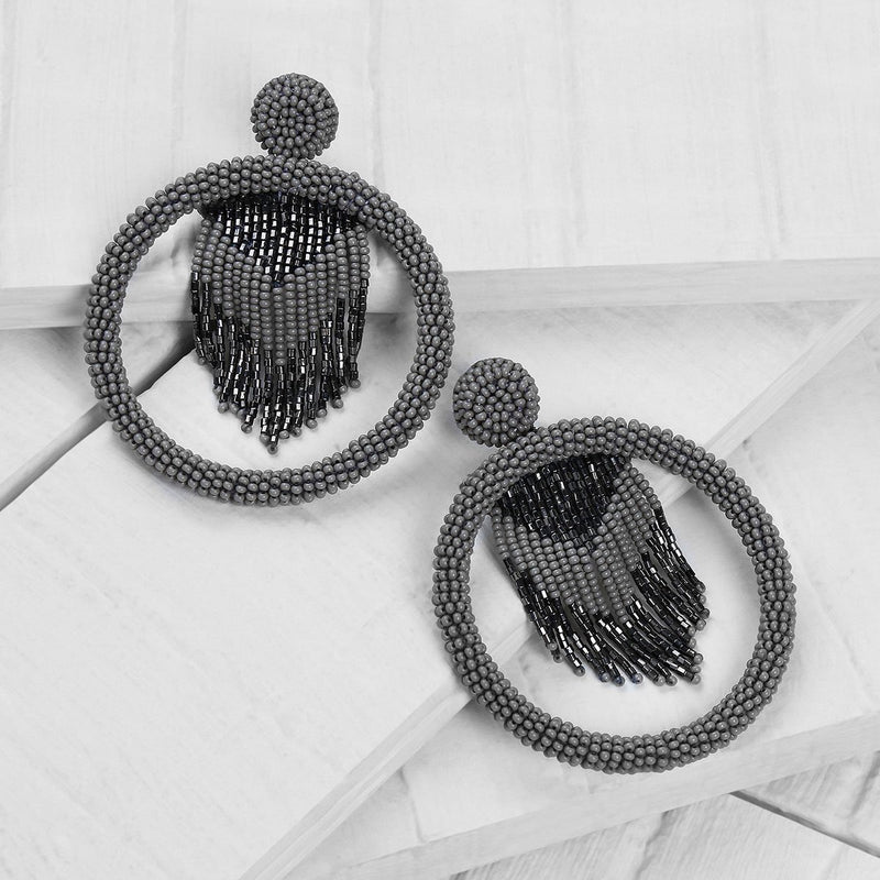 Deepa by Deepa Gurnani Handmade Sadia Earrings in Gunmetal on Wood Background