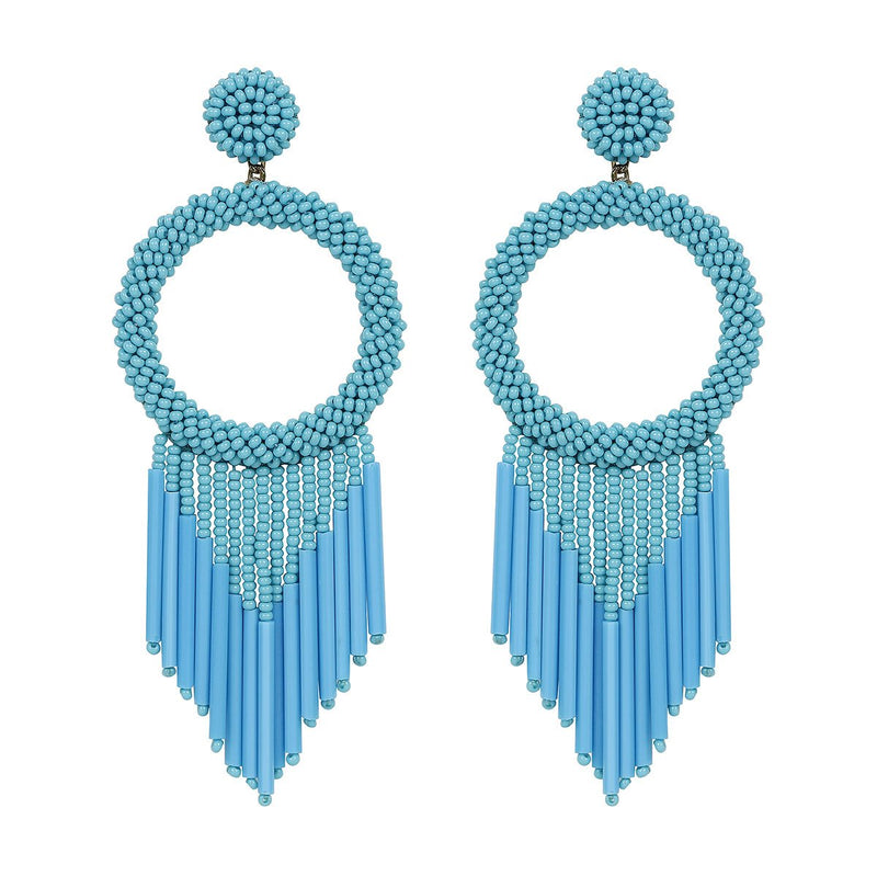 Unique Lightweight Hand Embroidered Aqua Earrings by Deepa Gurnani