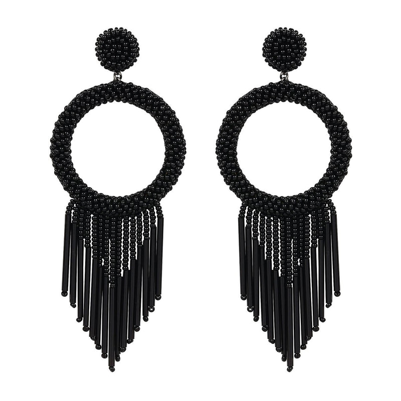 Unique Lightweight Hand Embroidered Black Earrings by Deepa Gurnani