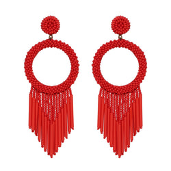 Unique Lightweight Hand Embroidered Red Earrings by Deepa Gurnani