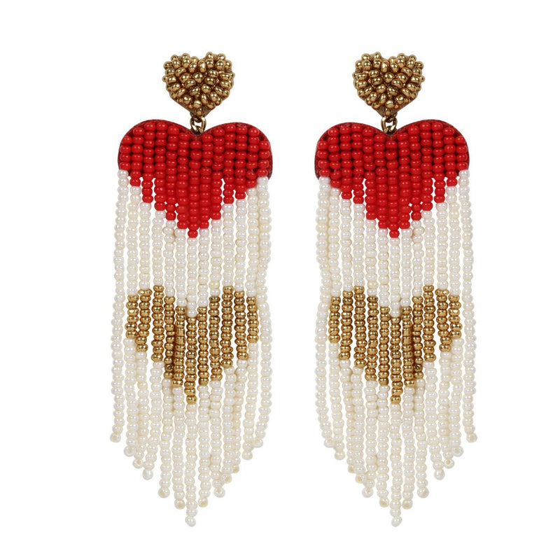Handmade White and Red Heart Tassel Earring
