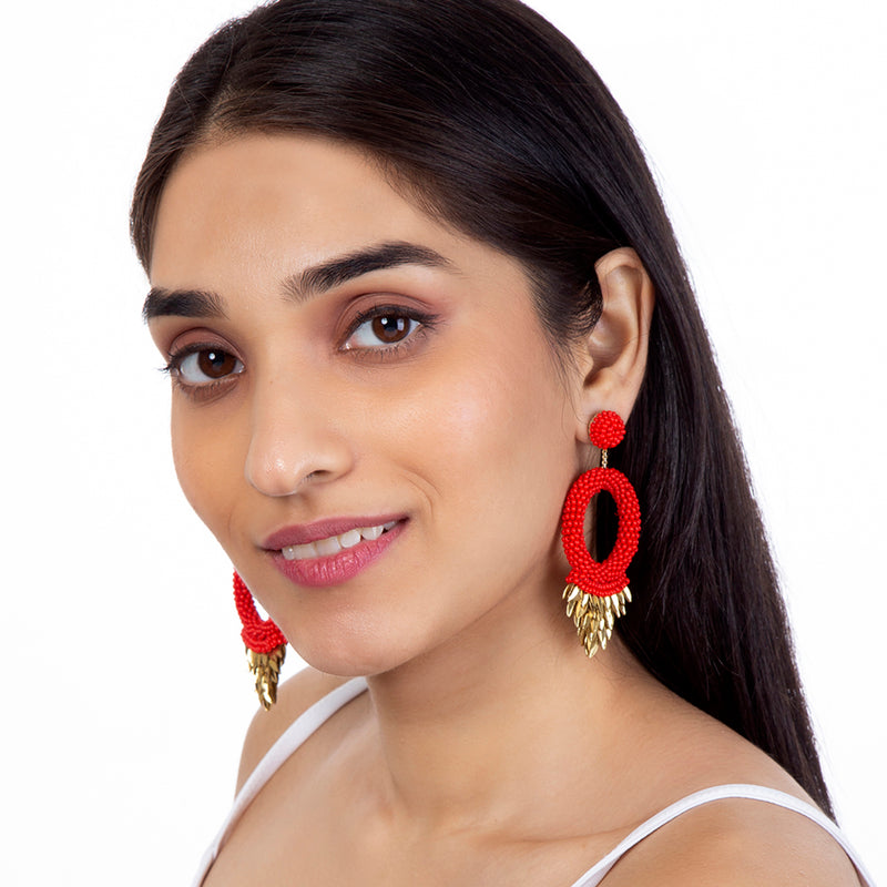 Franka Red Earrings by Deepa Gurnani India