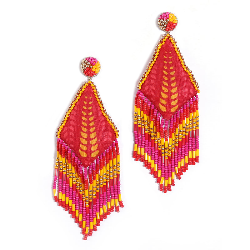 Handmade Red Ruhi Earrings