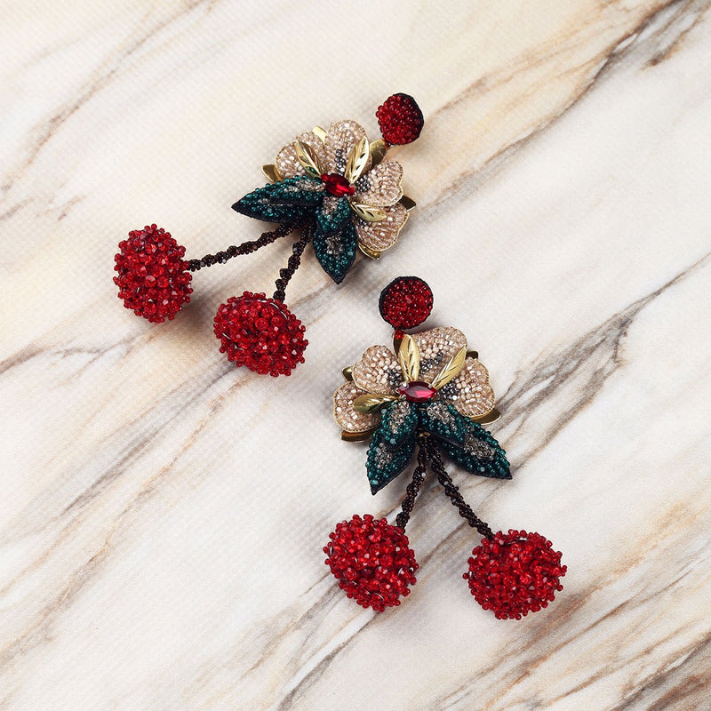 Hand Embroidered Nature Inspired Cherry Earrings