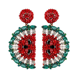 Deepa Gurnani Handmade Embroidered Watermelon Earrings