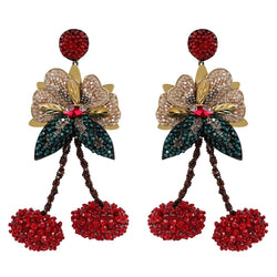 Deepa Gurnani Luxe Hand Embroidered Cherry Earrings