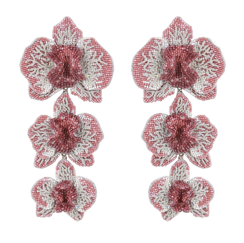 Lightweight Hand Embroidered Swarovski Orchid Drop Earrings Deepa Gurnani