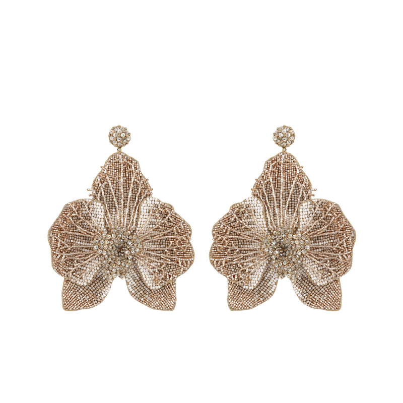 Deepa Gurnani Handmade Catarina Orchid Earrings Light Gold