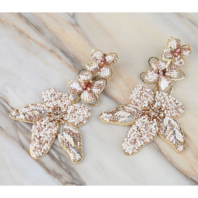 Deepa Gurnani Handmade Wynona Earrings on Marble Background