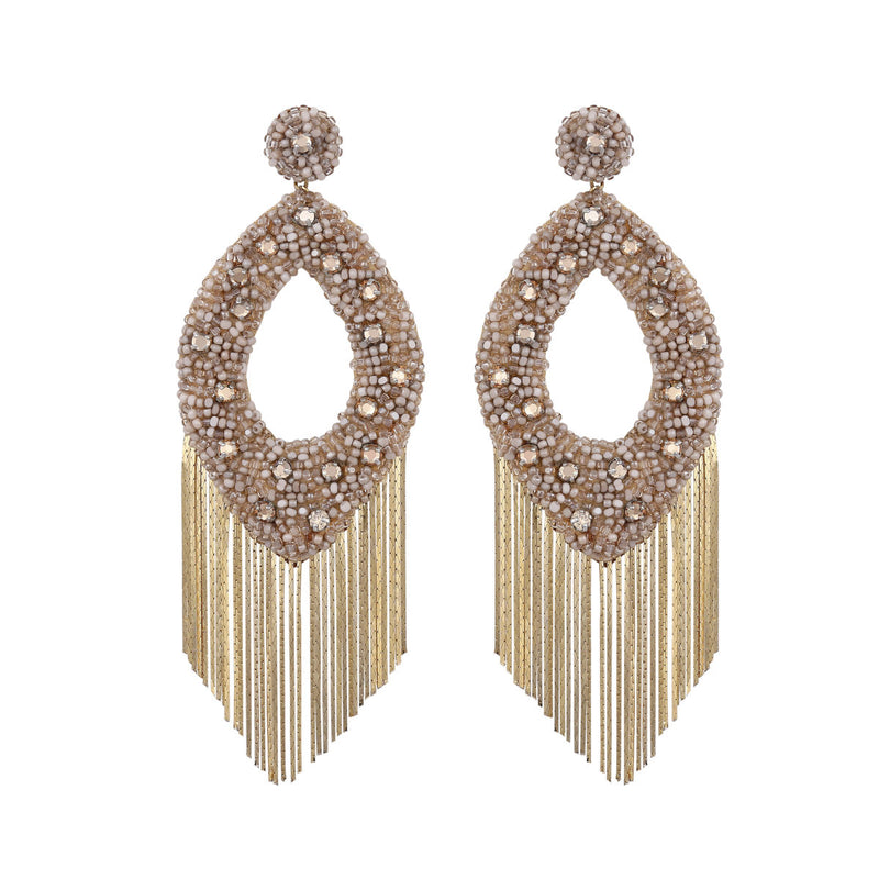 Deepa Gurnani Handmade Jenny Earrings Beige
