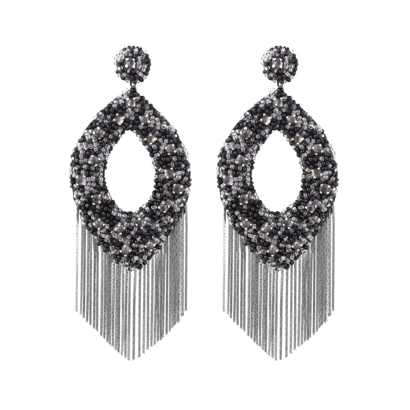 Deepa Gurnani Handmade Jenny Earrings Grey