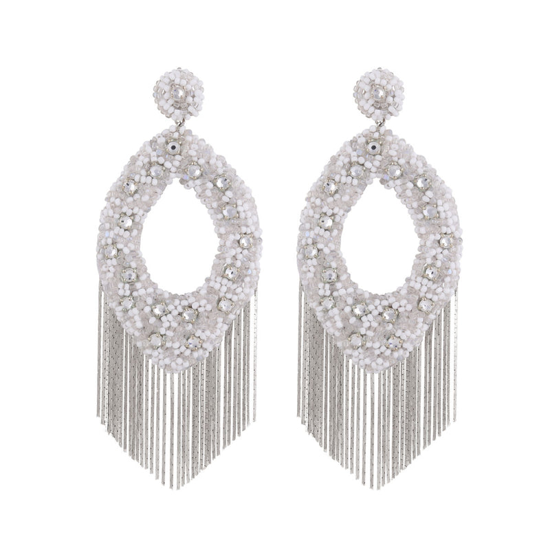 Deepa Gurnani Handmade Jenny Earrings White