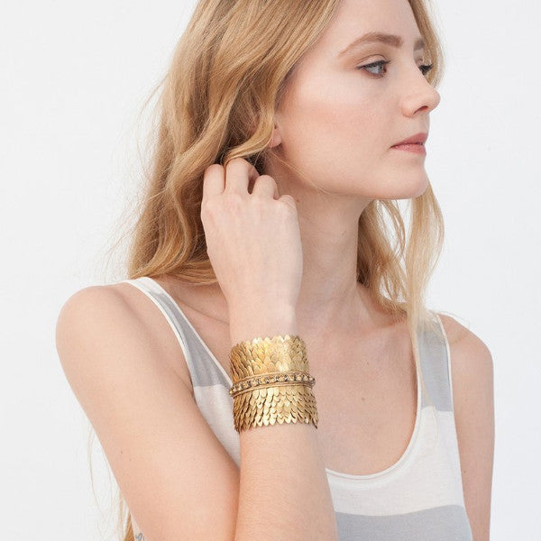 Model Wearing Deepa by Deepa Gurnani Handmade Gigi Cuff in Gold