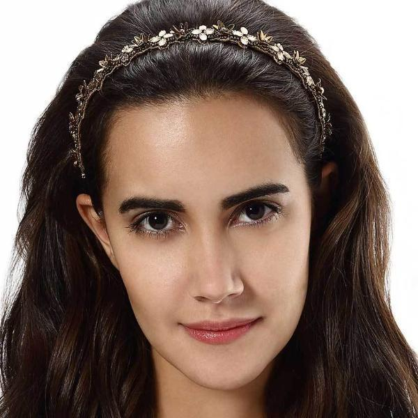 Model Wearing Deepa by Deepa Gurnani Handmade Kristin Headband in Gold
