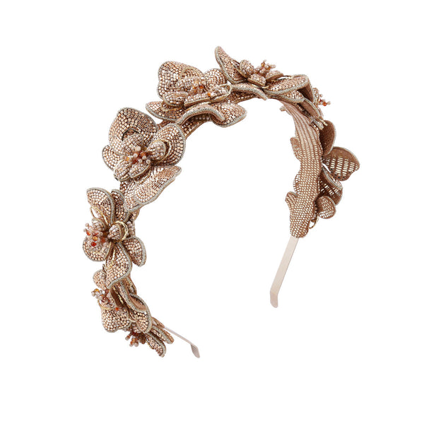 Deepa Gurnani Handmade Peaches Hard Headband Gold