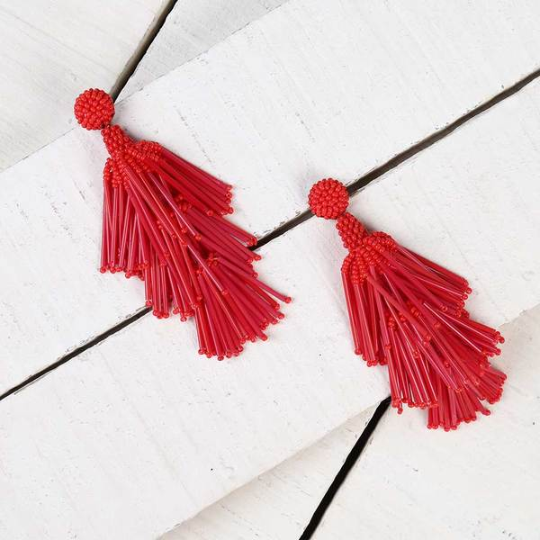 Deepa by Deepa Gurnani Handmade Red Rain Earrings on Wood Background