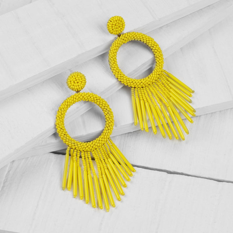 Unique Lightweight Hand Embroidered Yellow Earrings by Deepa Gurnani