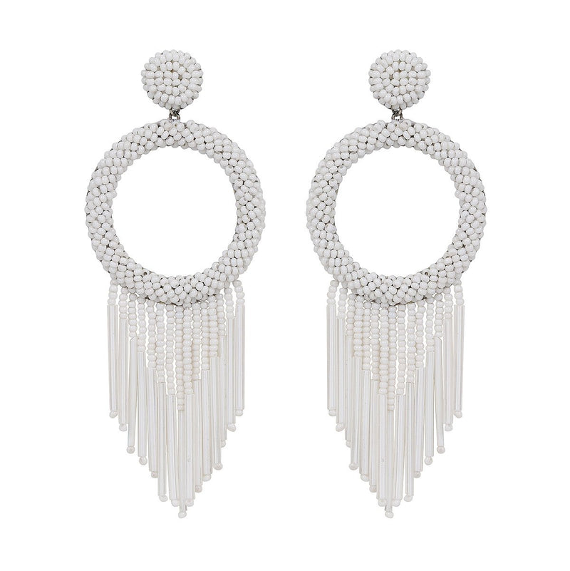 Unique Lightweight Hand Embroidered White Earrings by Deepa Gurnani