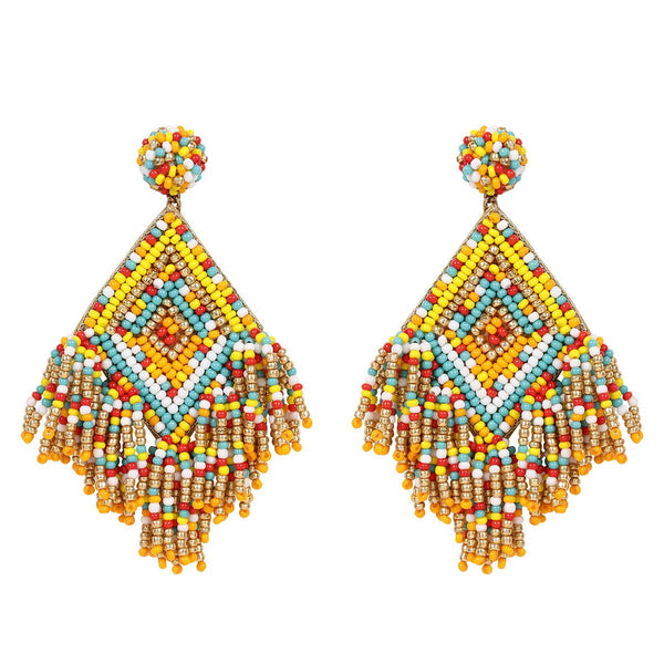 Deepa by Deepa Gurnani Handmade Multicolor Beads Drop Earrings