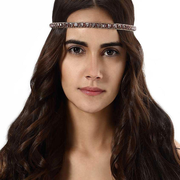Model Wearing Deepa by Deepa Gurnani Handmade Nerissa Headband in Rose Gold