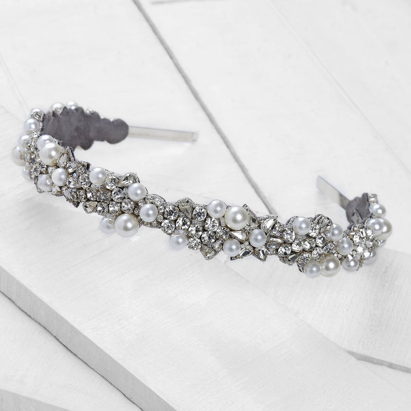 Deepa by Deepa Gurnani Handmade Peony Headband in Silver on Wood Background