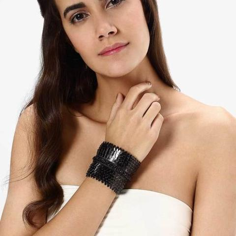 Model Wearing Deepa by Deepa Gurnani Handmade Gigi Cuff in Black