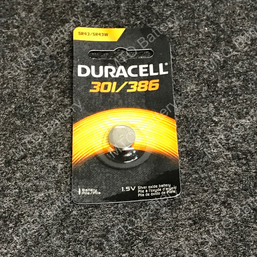301/386 Duracell 1.5V Silver Oxide Coin Cell D301/386