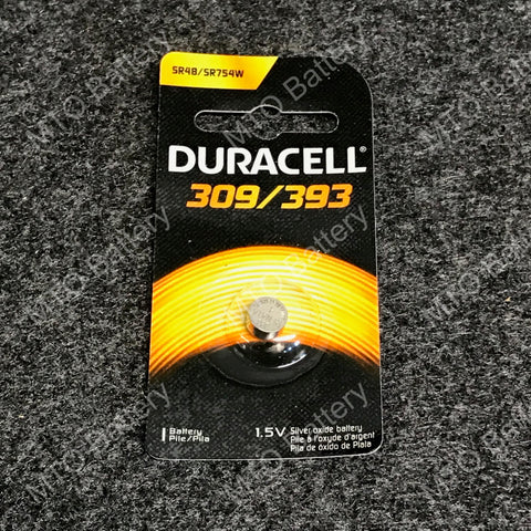 309/393 Duracell 1.5V Silver Oxide Coin Cell D309/393