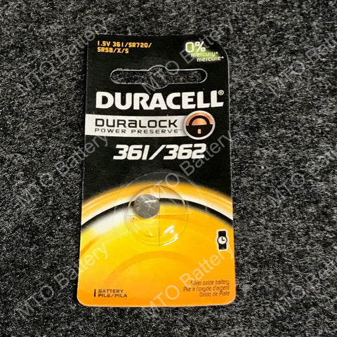361/362 Duracell 1.5V Silver Oxide Coin Cell D361/362