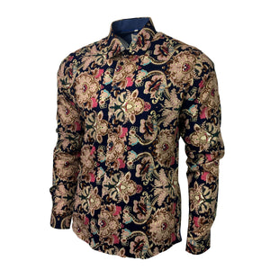 Men's Statement Floral Shirt Slim Fit - Roayl Jungle