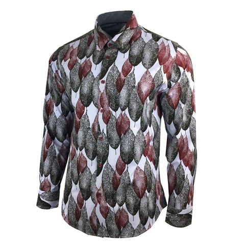 2020 Men's Floral Shirt - Vintage Retro BurGundy - Southbank Attire