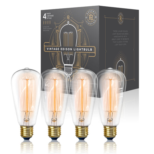 Vintage Edison Light Bulb 60W (4 Pack) - Dimmable Exposed Filament - Incandescent Clear ST58 Teardrop Squirrel Cage Style - E26 Medium Base 2700K - 210 Lumens ... (4 Pack)