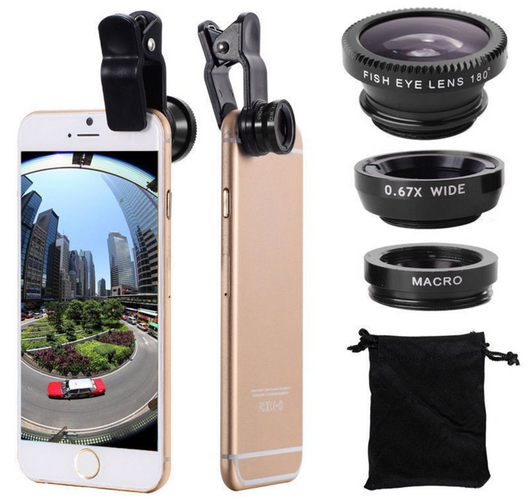 Quality iphone Lens Camera Lenses - Fisheye, Macro, Wide Angle 3 in 1 Clip On Lense Kit
