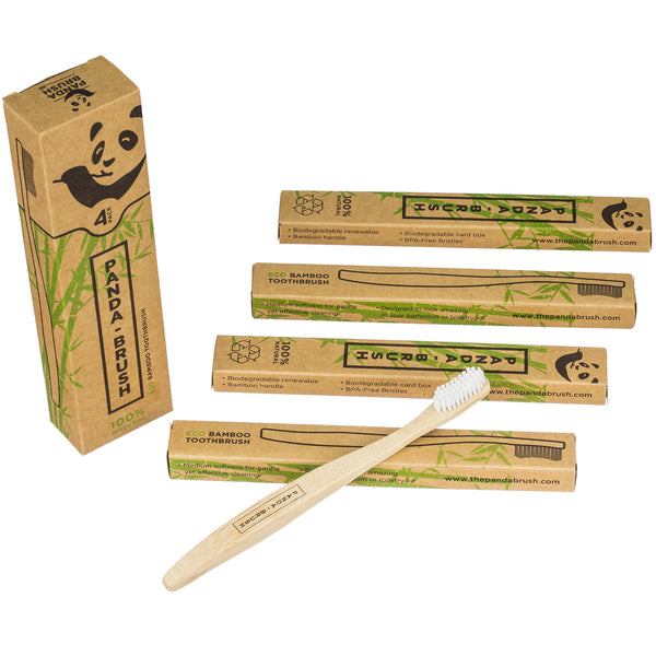 Bamboo Wooden Toothbrush - The Panda Brush™ - Luxury Patented Handle - 100% Biodegradable (4 pack Adult Size)