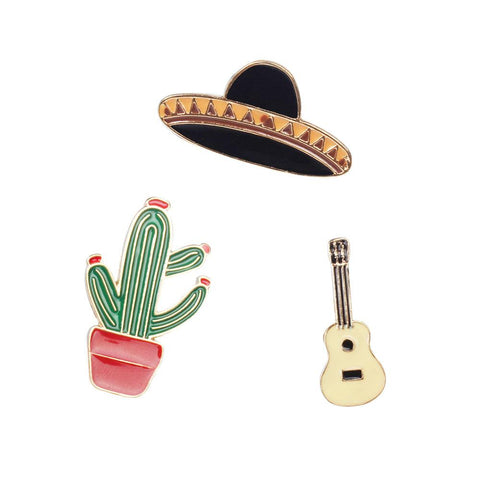 Mexico Inspired Enamel Label Pins - Set of 3 - Sombrero, Cactus & Guitar Brooch