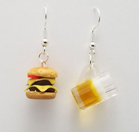 Cold Beer and Cheeseburger Earrings - Food Earrings