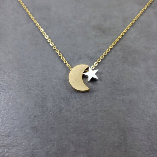 Crescent Moon & Star Pendant Necklace - Mixed Metal Jewelry