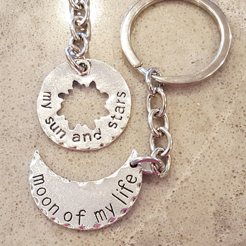 My Sun and Stars Keychain, Moon of my Life Keychain