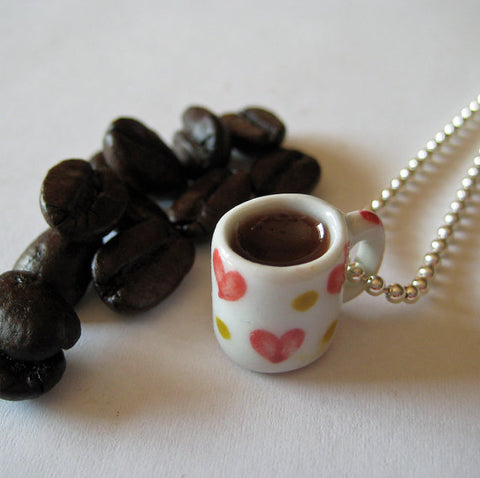 Coffee Necklace  I Heart Coffee Mug