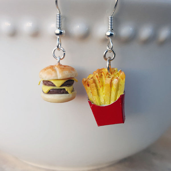 Cheeseburger and French Fry Earrings